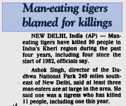 "Newspaper headline from March 1982. ""Man eating Tiger blamed for killings"