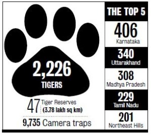 2015 census summary. 2226 tigers in 47 tiger reserves